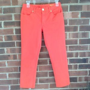 Tory Burch orange red cropped jeans Sz 27